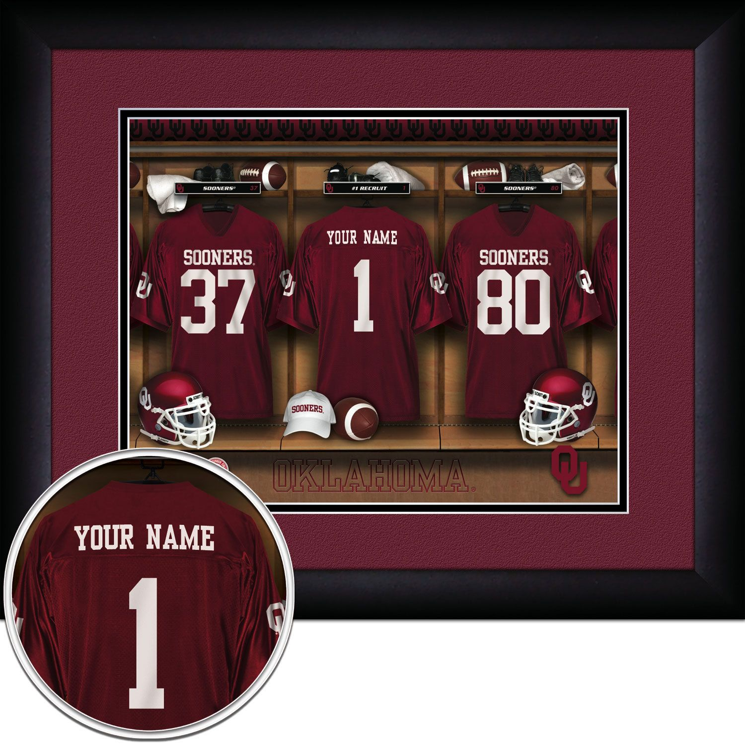NCAA Football -Locker Room Print -Oklahoma Sooners -Personalized!! MATTED and FRAMED by WorldTrading on Etsy