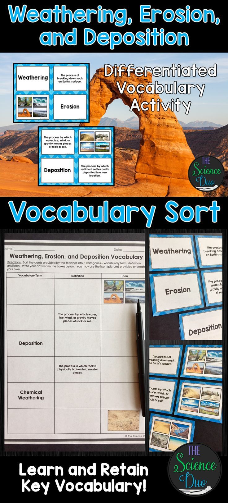 weathering, erosion, and deposition vocabulary sort | science for