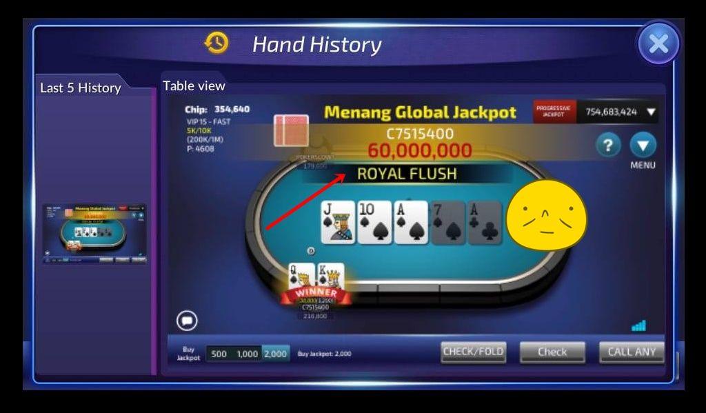 Jackpot Super Royal Flush Poker Permainan Kartu Kartu