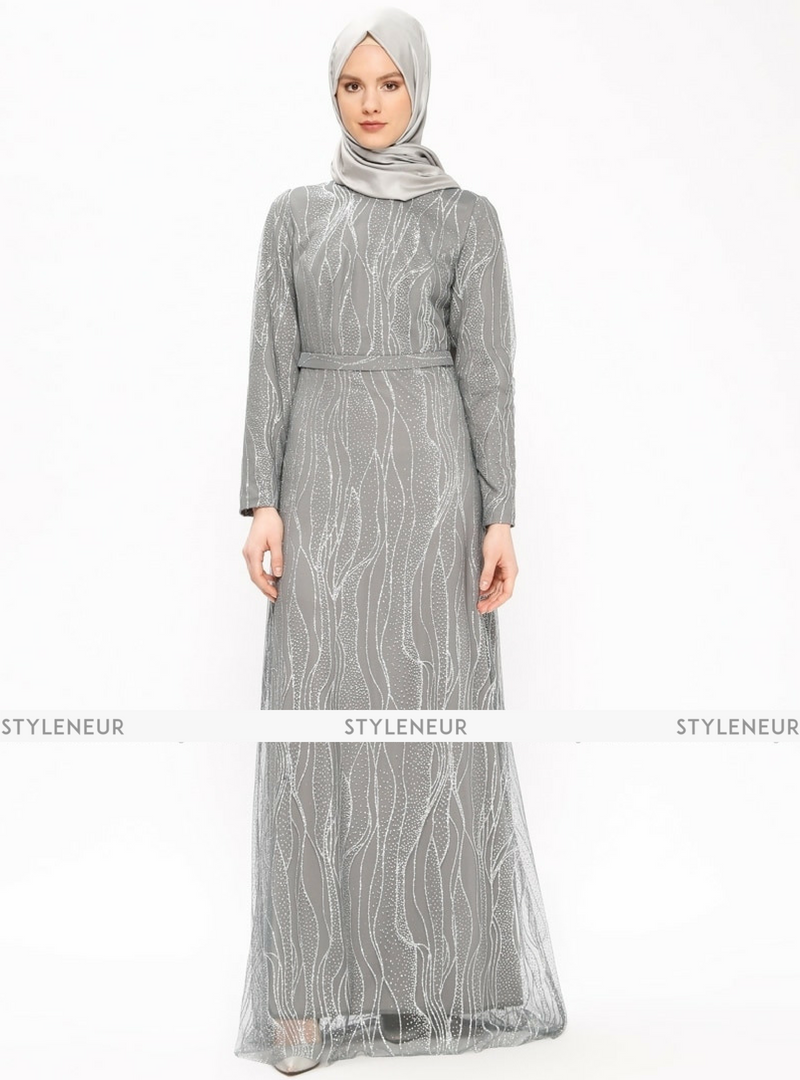 Khaki fully lined crew neck muslim evening dress in