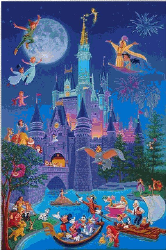 Fairy Tale Characters and Castle 251 Modern Cross Stitch Pattern Counted Cross Stitch Chart Pdf Format Instant Download Needle Craft