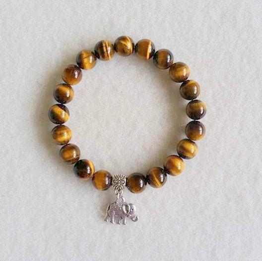 Tiger Eye stretch bracelet with charm