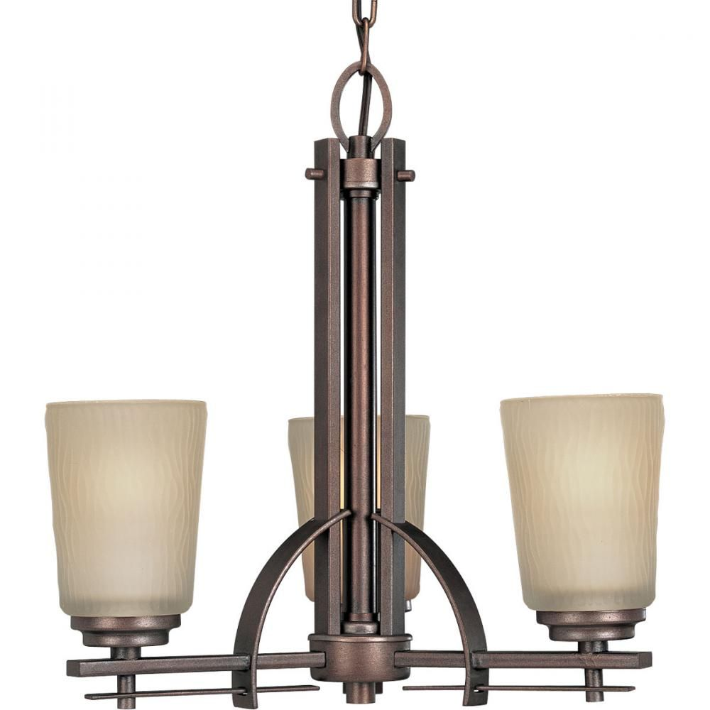 Three Light Heirloom Etched Light Topaz Glass Up Chandelier : 194X6 | Denney Electric Supply
