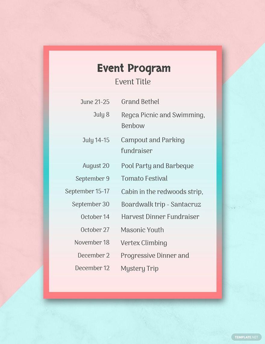 Free Event Program Program Template Free Program Templates