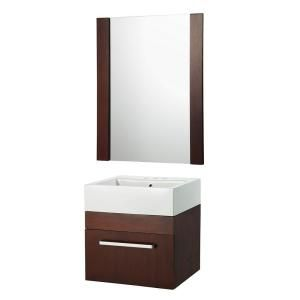 Rayne 20 In Wall Hung Vanity And Mirror In Cherry With Square