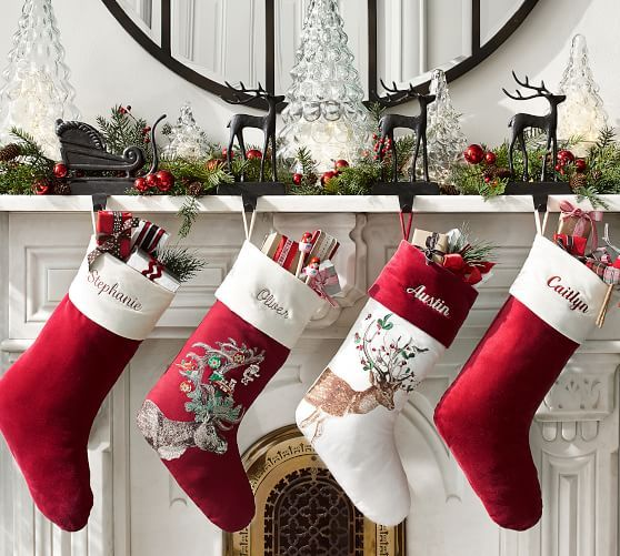 Velvet Stocking, Small, Red with Ivory Cuff at Pottery Barn