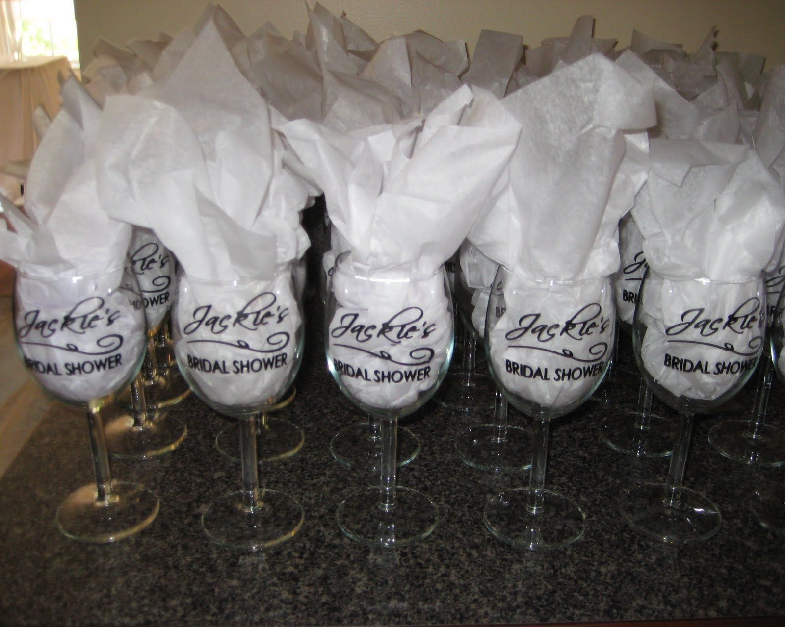 Wine Glass Party Favors The Wine Glasses Came Out Great She Even Posted A Diy Tutor Easy Bridal Shower Favors White Bridal Shower Wine Glass Wedding Favors