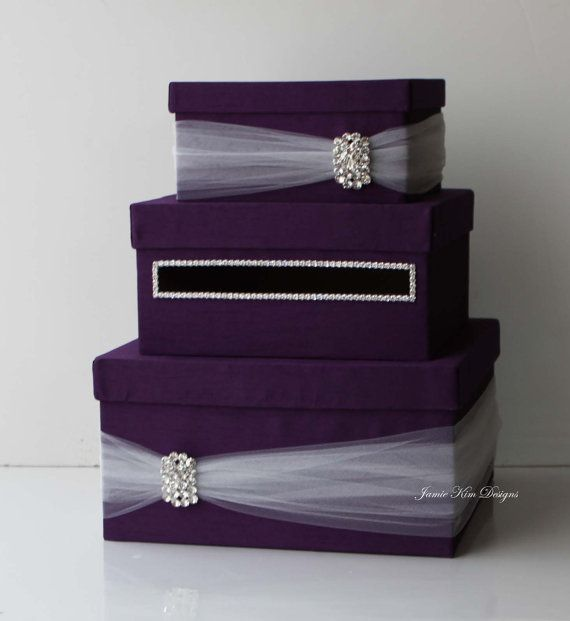Wedding Card Box Money Box Wedding Gift Card Money Box Etsy Money Box Wedding Wedding Card Boxes Purple Card Box Wedding