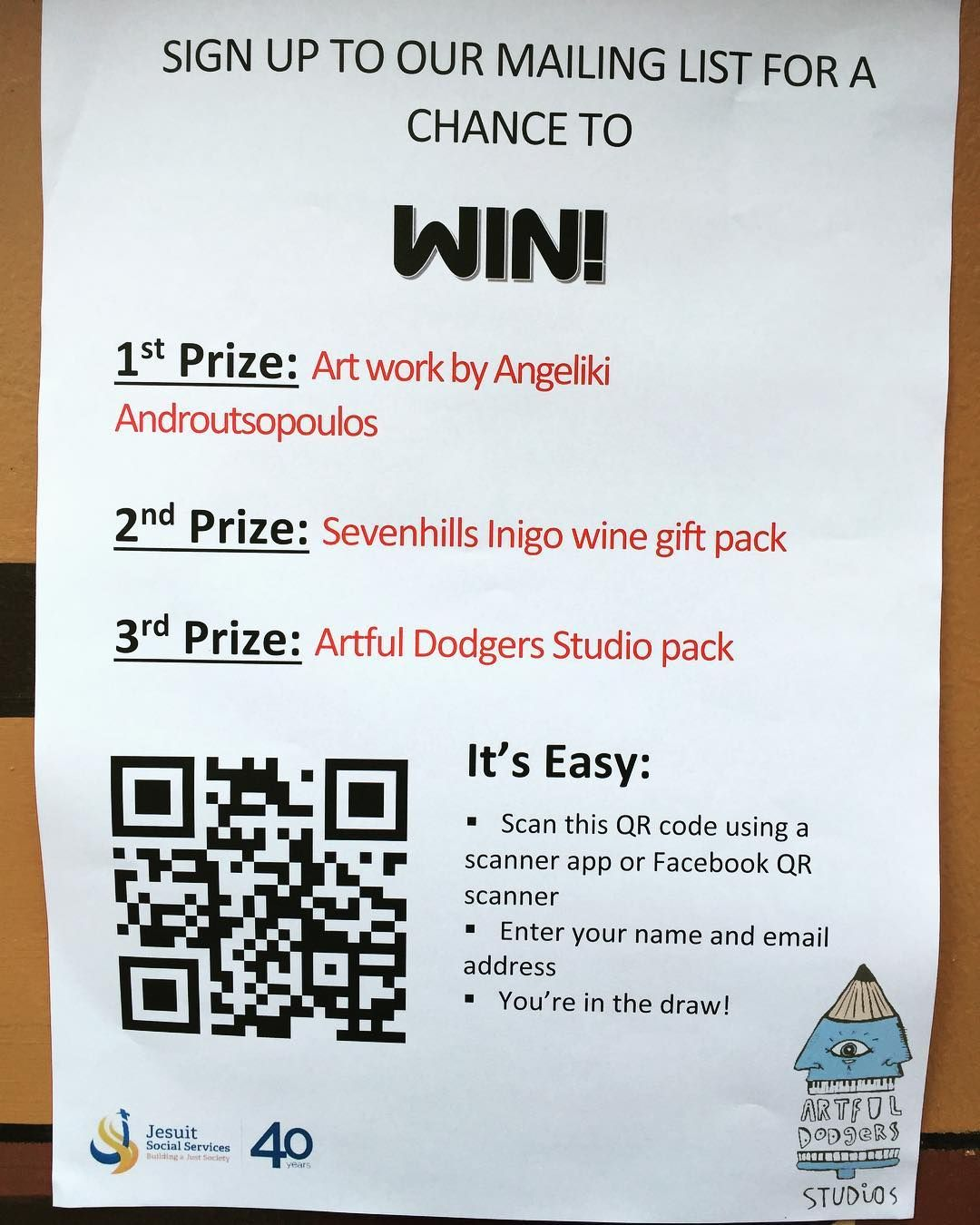 Sign Up To Artfuldodgers Mailing List To Win A Great Cause
