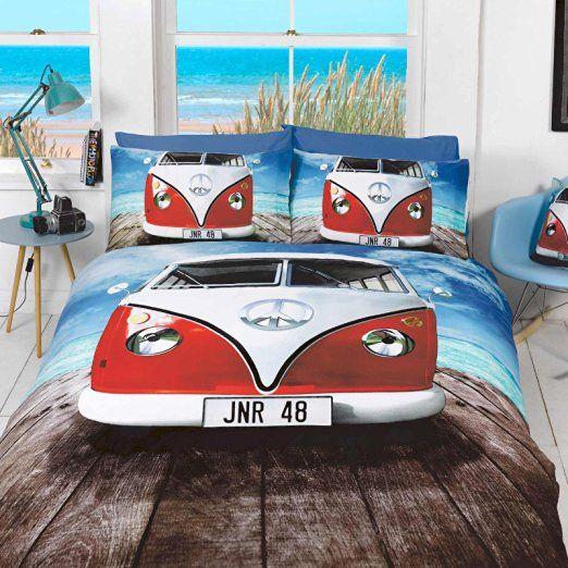 vw bulli bettw sche rot king size vw bulli pinterest bett vw k fer und bettw sche. Black Bedroom Furniture Sets. Home Design Ideas