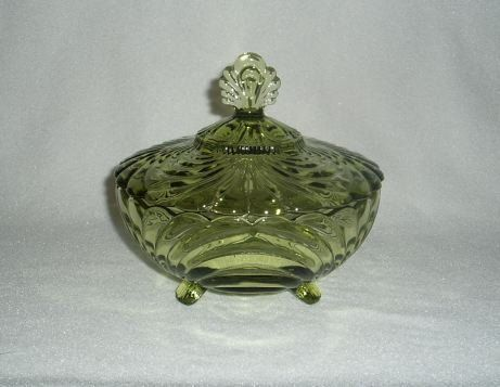 Imperial Glass Caprice Verde Green Candy Jar