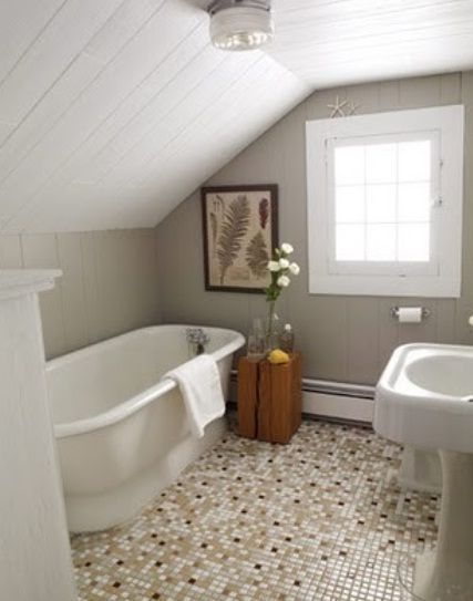 Small Bathroom Ideas   Home And Garden Design Ideau0027s   Sloped Beadboard  Ceiling, Soaker Standalone Tub, Mosaic Tile Floor, Pedestal Sink. Not A Bad  Idea To ...