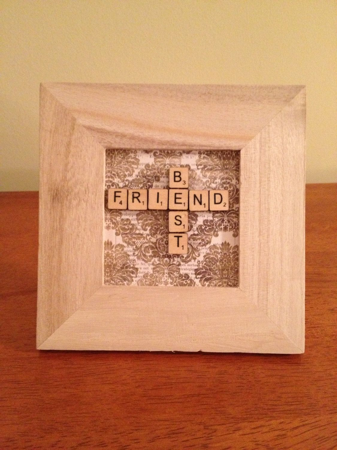 Hand crafted framed best friend miniature scrabble tiles gift you could totally do this yourself its a cute gift idea you could add your name and your best friends name to make it more personal solutioingenieria