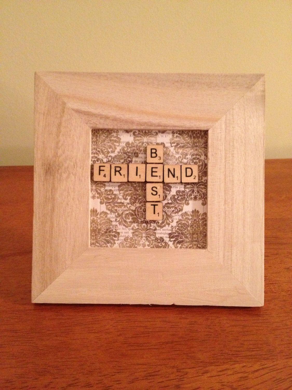 Hand Crafted Framed Best Friend Miniature Scrabble Tiles