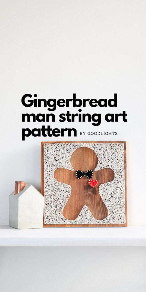 Easter string art pattern printable, Christmas gingerbread man decor DIY template and tutorial, string art craft kit for kids and adults