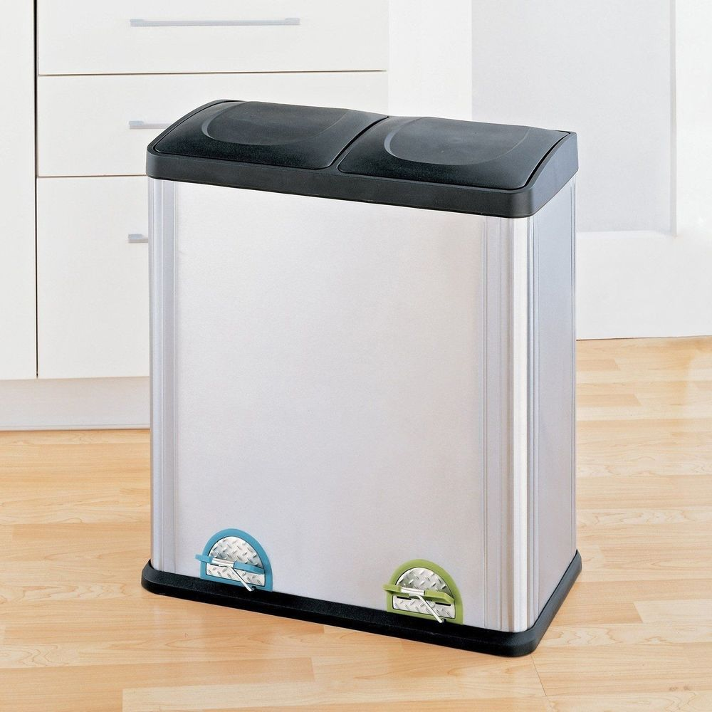 Cool Trash Bins Trash Can Recycle Bin Combo With Lid Stainless Steel 16 Gallon