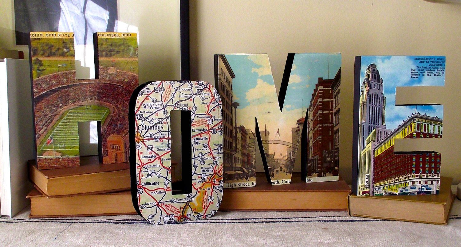 HOME sign wood letters Vintage Columbus Ohio wall hanging decor by ...