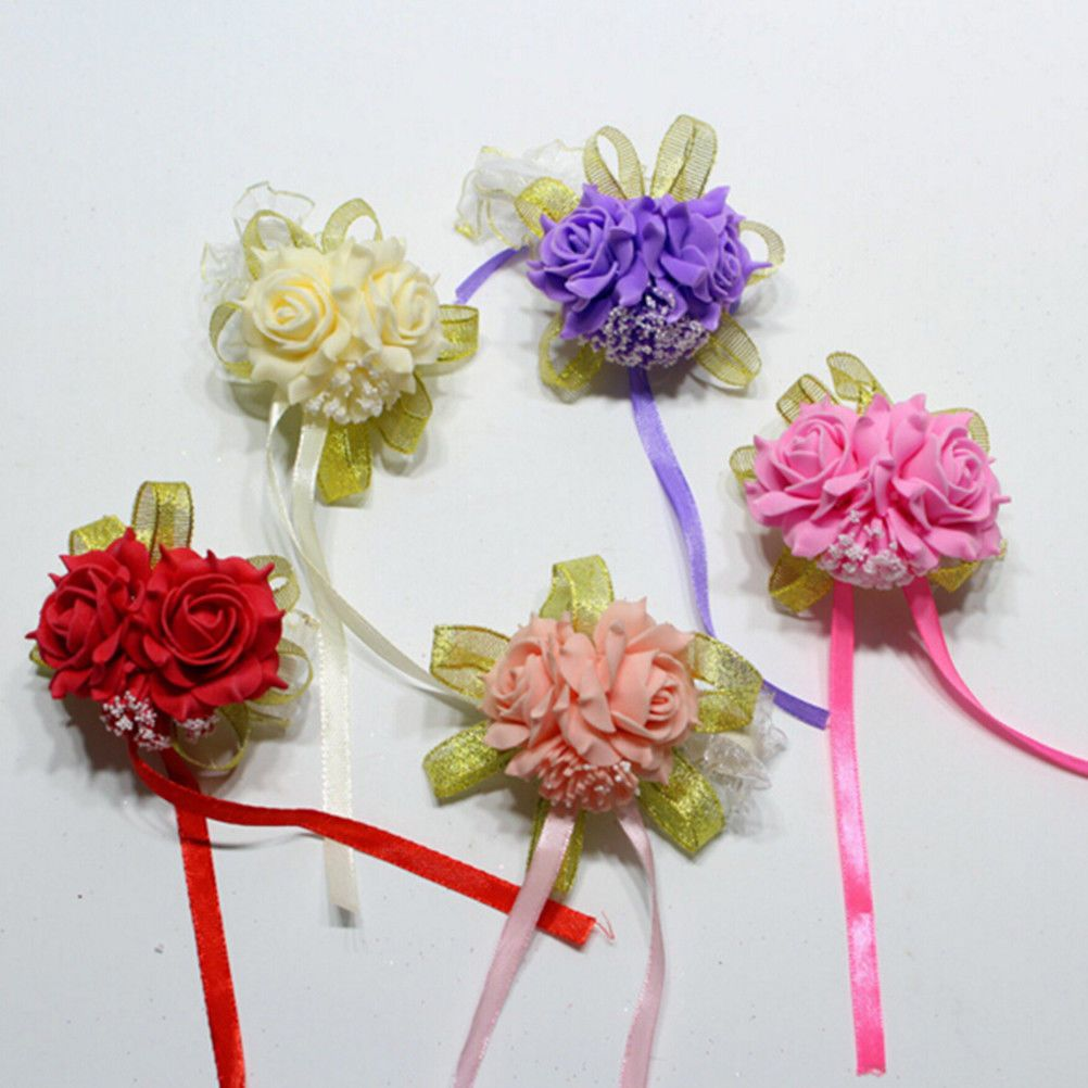 Bridal Bridesmaid Silk Flower Wrist Corsage Wedding Party Rose