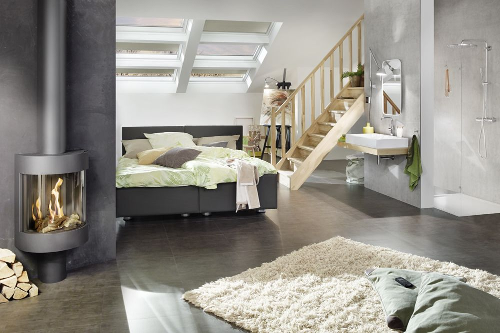 Wohnglück #Dachgeschoss #Schlafzimmer #Brunner Kamin #Grohe - bild für schlafzimmer