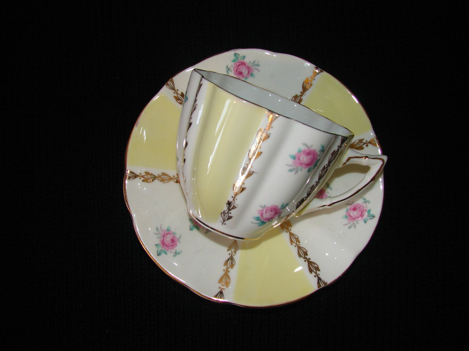 Bone China 22 KT Gold Teacup and Saucer with Sunny Yellow and Pink Roses, Made in England by mycabbageroseshoppe on Etsy