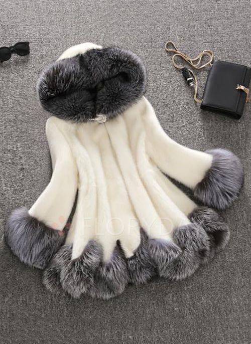 Coats & Jakker - $85.09 - Fur & kunstskind Polyester Sort hvid Kort Langærmet Revers Coats & Jakker (1715116687)