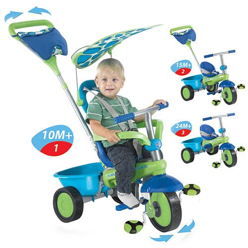 Smart Trike Plus Tricycle Green Blue And Purple Smart