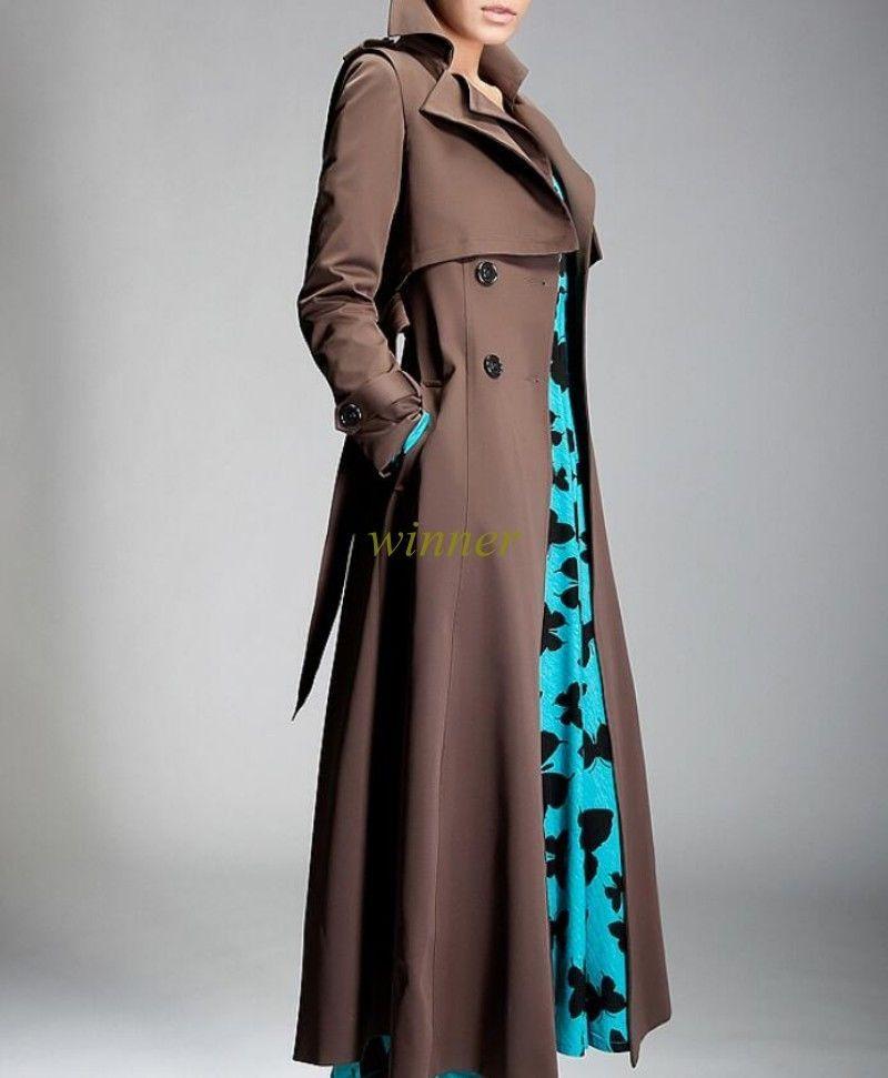 Womens Lapel Collar Super Long Polyester Autumn Coat Jacket Slim Belt Outwear