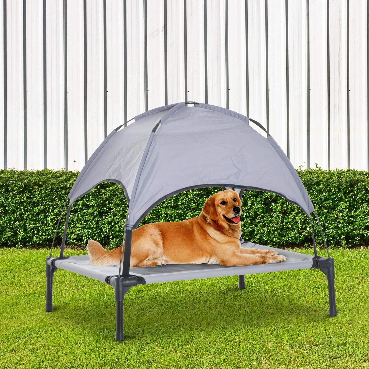 Festnight Elevated Cooling Pet Dog Bed Cot with Canopy