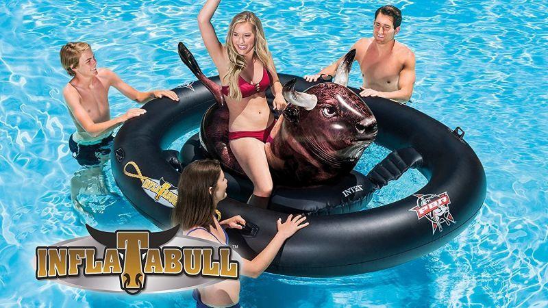 Intex Inflatabull 35 Amazon Photo Amazon It S Novelty Pool Float Inflatable Floating Island Swimming Pool Floats Pool