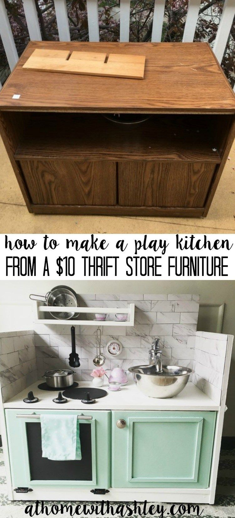 How To Make A Play Kitchen From A 10 Piece Of Furniture Kids Play Kitchen Play Kitchen Diy Play Kitchen