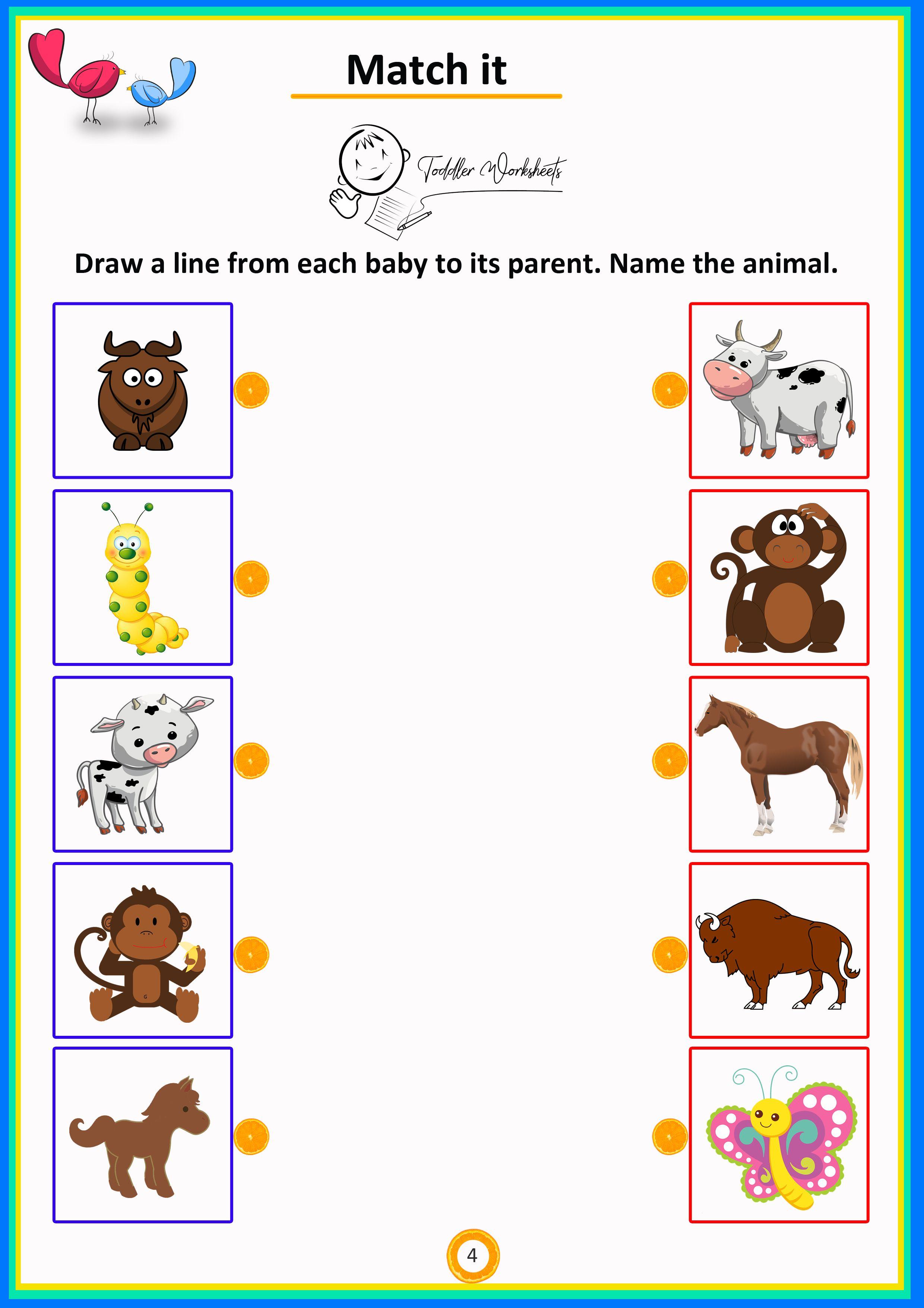 Match It 4 Toddler Preschool Simple Math Worksheets Pendidikan