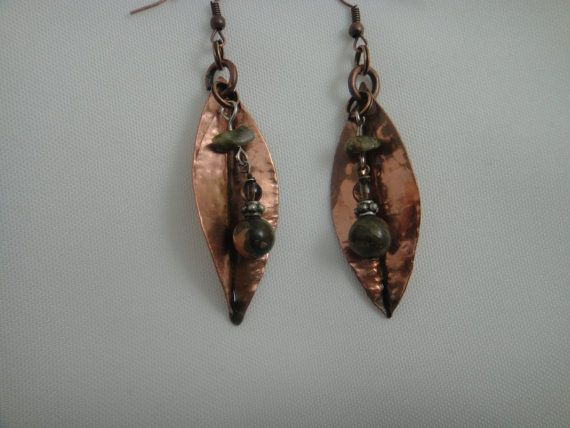 Copper Leaf with Jasper Beads Pierced Earrings by GumboCreations, $25.00