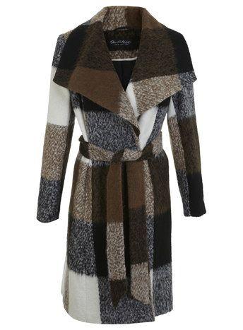 Check Wool Wrap Coat