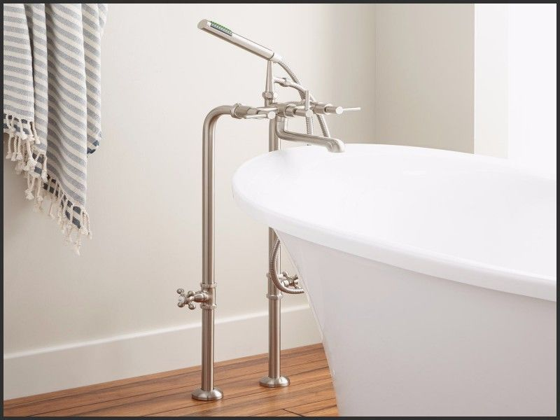 Elegant 3 Handle Tub And Shower Faucet Brushed Nickel Dengan Gambar