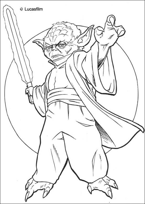 Yoda with a sword coloring page. More Star Wars coloring sheets on ...
