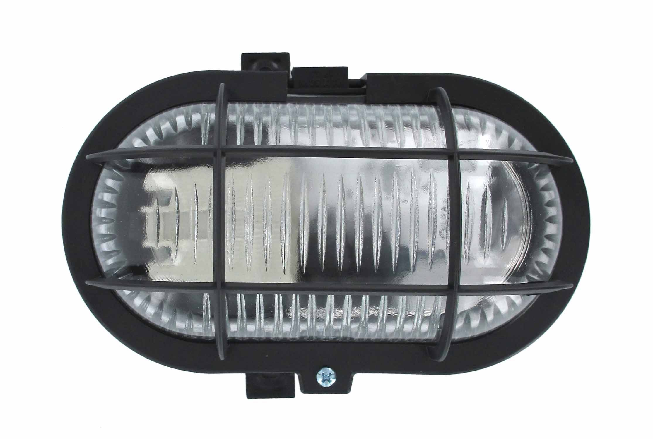 Hublot Ovale 60W Plastique Noir Avec Grille Et Vitre De Protection ...