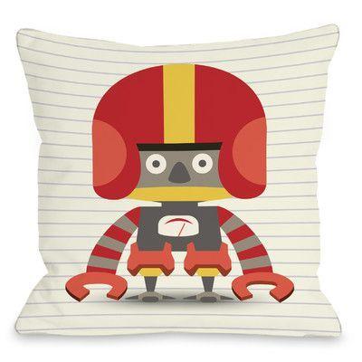 "One Bella Casa Asher's Robot Throw Pillow Size: 18"" H x 18"" W"
