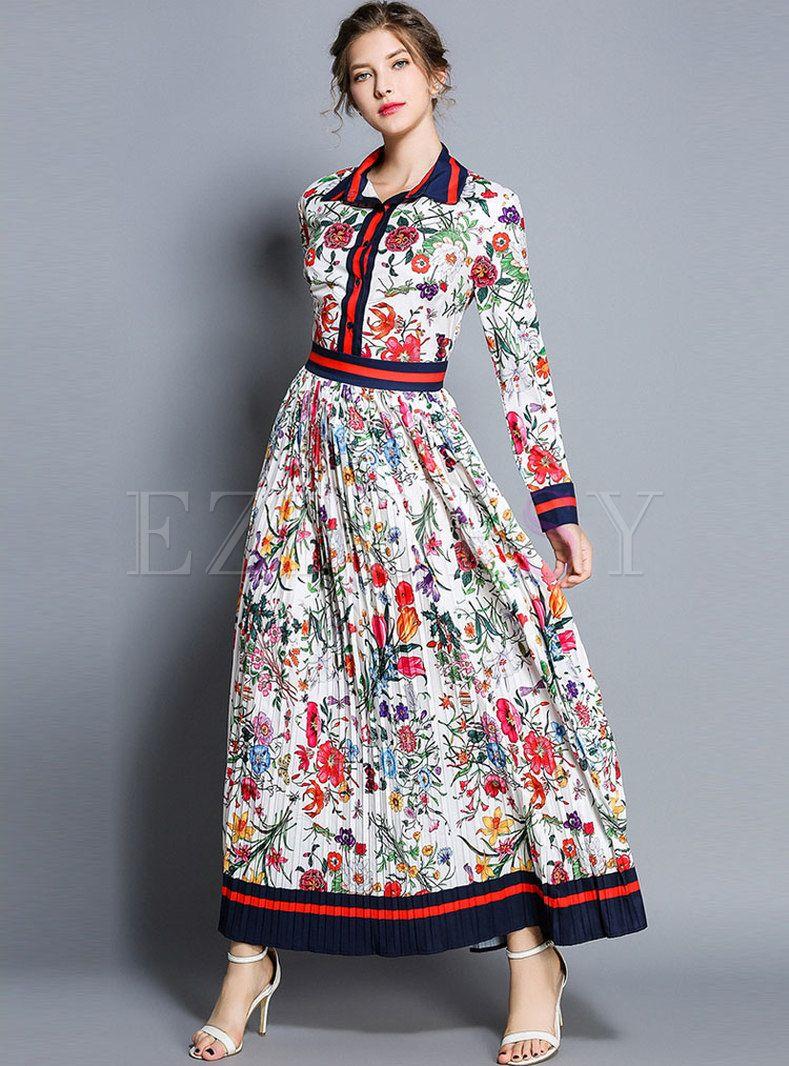 Floral Print Lapel High Waist Maxi Dress Trendy Dresses Summer Maxi Dress Printed Maxi Dress [ 1066 x 789 Pixel ]