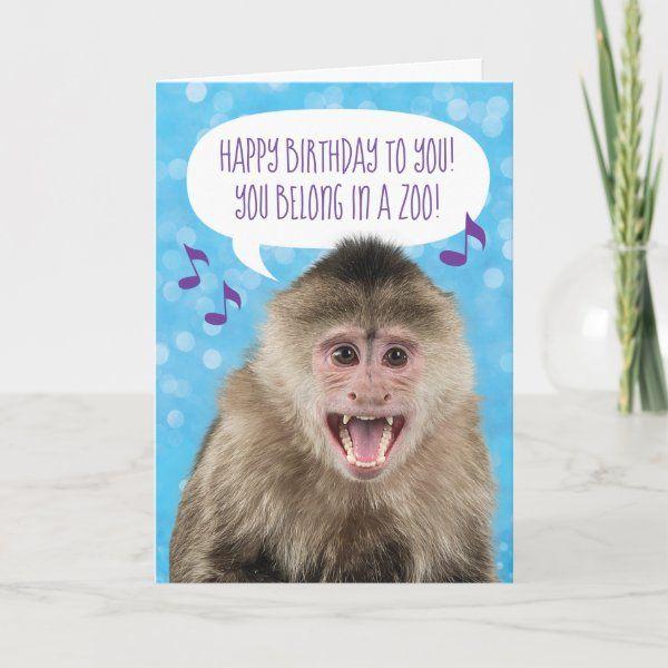 Funny Singing Monkey Birthday Card Zazzle Com Free Singing Birthday Cards Monkey Birthday Singing Birthday Cards
