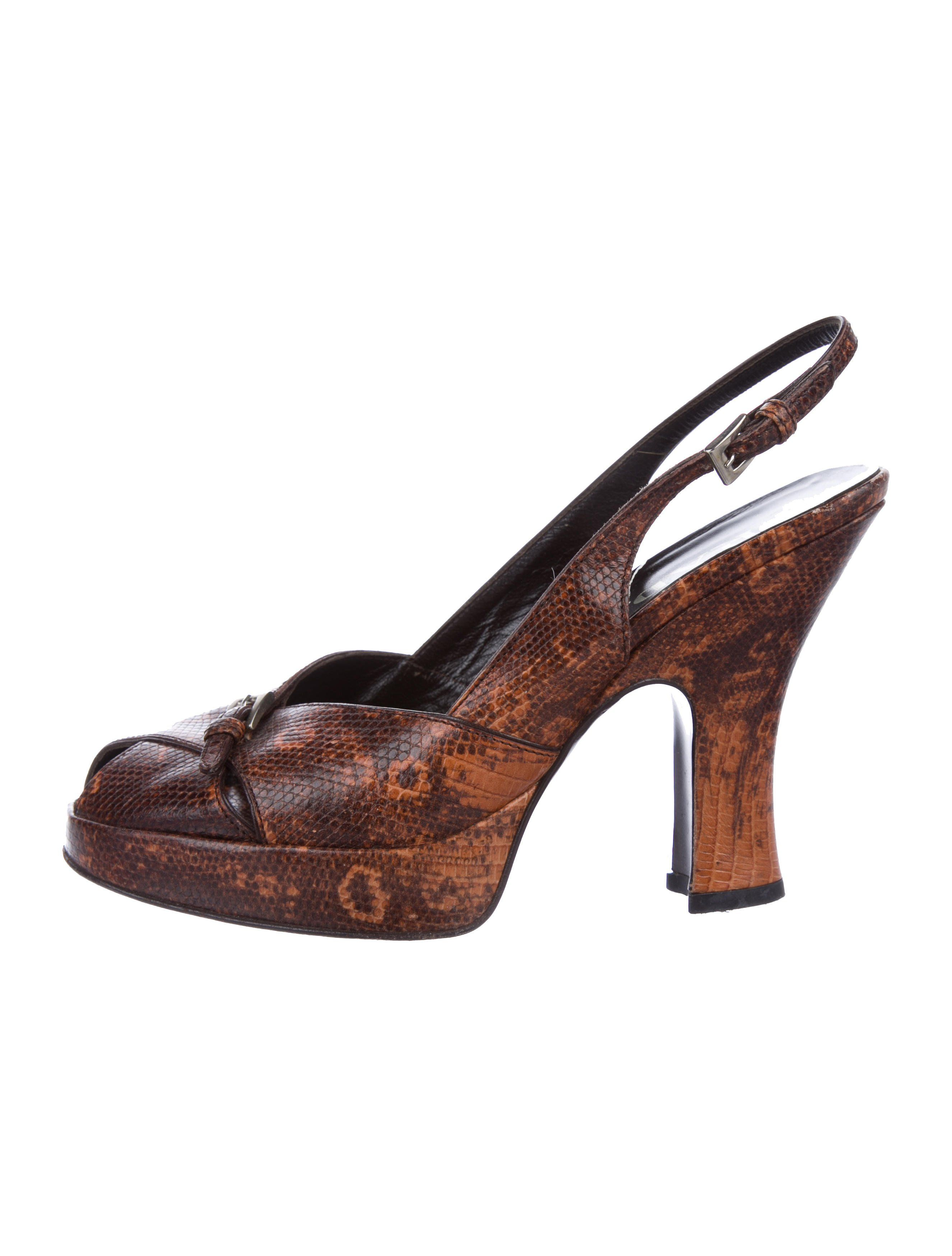 75637904c1d8 Prada Embossed Slingback Pumps - Shoes - PRA187343