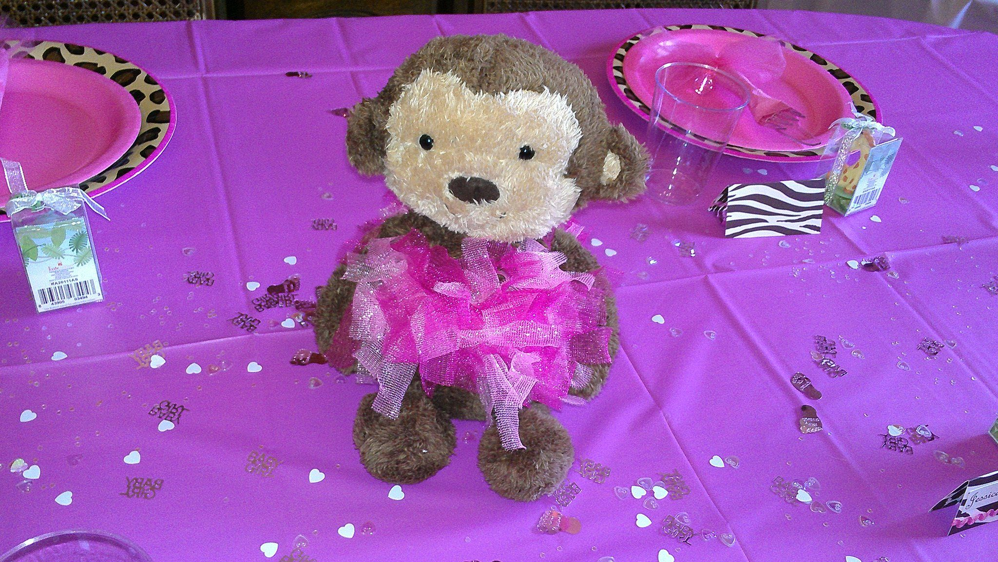 Centerpiece Monkey with pink tutu