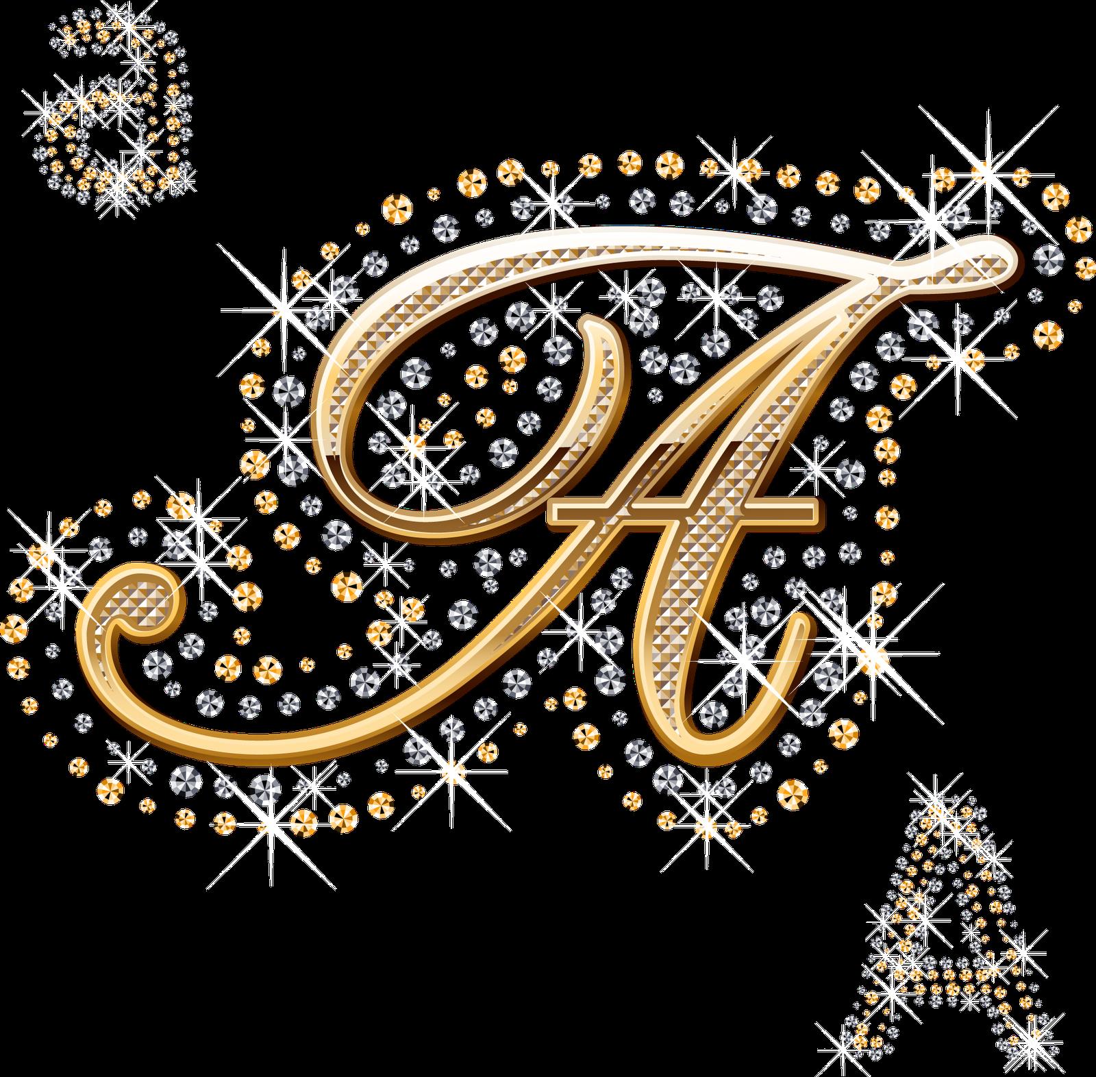 Alfabeto decorado dourado com strass em PNG | Alfabeto ...