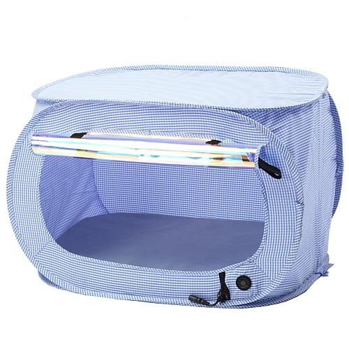 Pet Life Enterlude Electronic Heating Lightweight Collapsible Pet Tent This lightweight pet tent has a built-in cushion that heats up as well as a pouch for the removable AC unit to keep your pet comfortable no matter the weather.