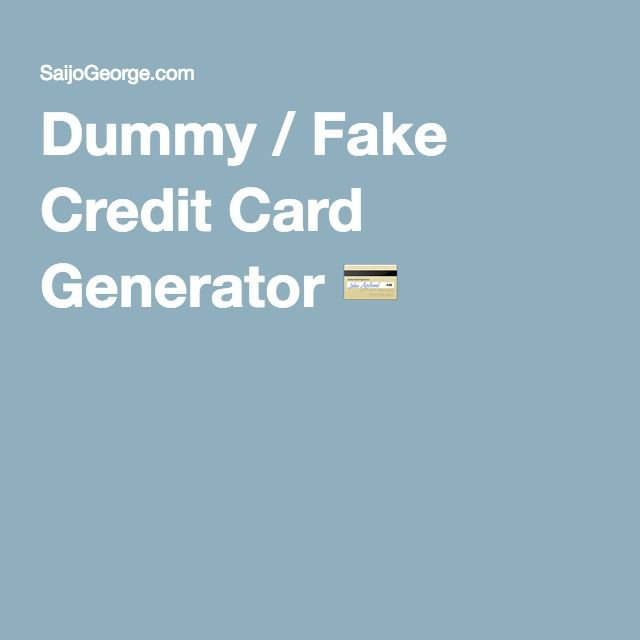 Dummy-fake Credit Dummy-fake Card Credit Generator
