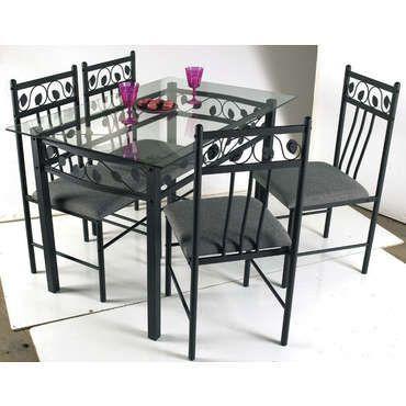 cool Table rectangulaire en verre et métal + 4 chaises SHANGAÏ