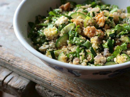 spinach, zucchini, feta, and walnut quinoa with salmon.