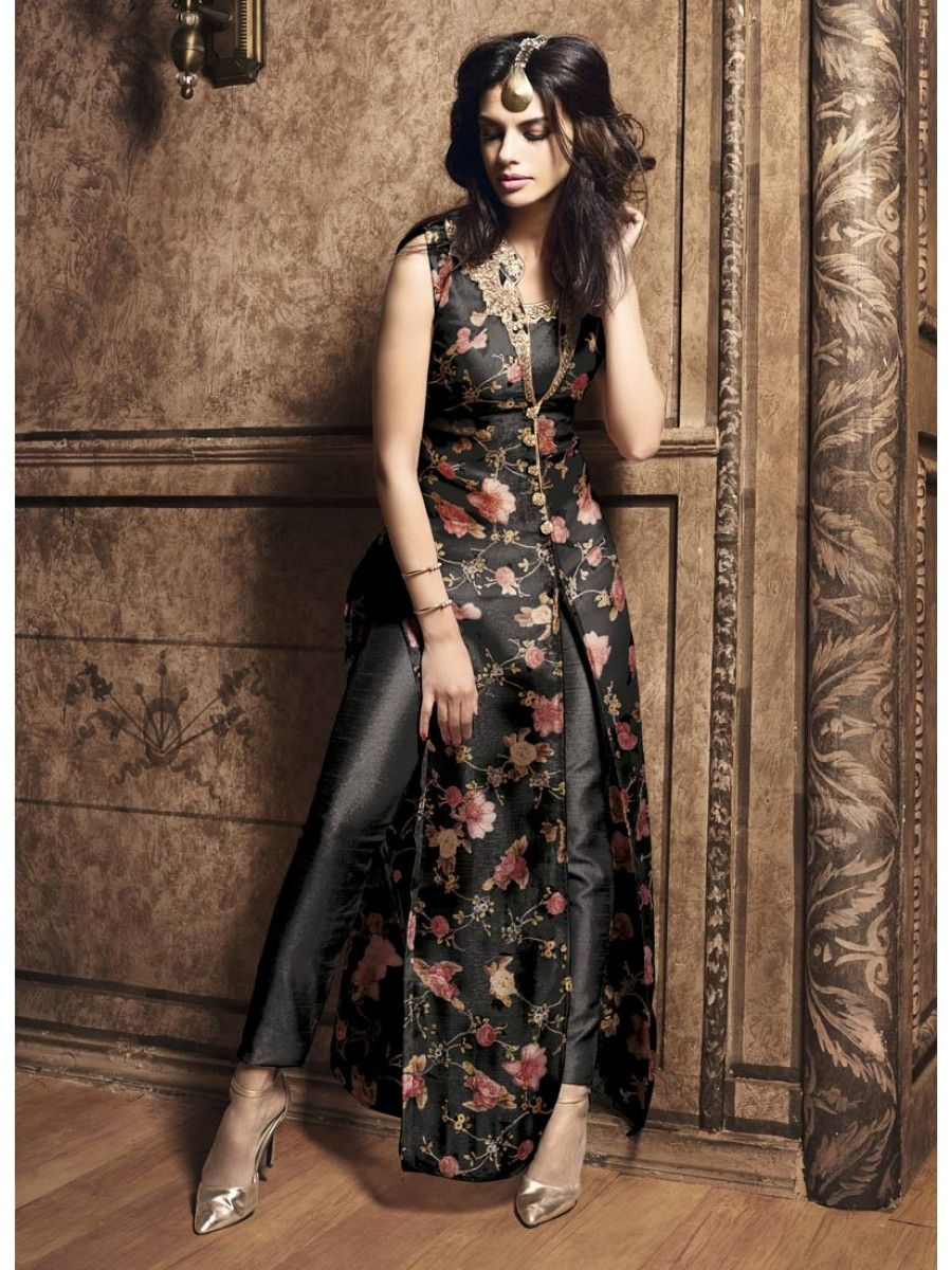 Black Beauty Floral Pant Suit - Designer Suits Online at best ...