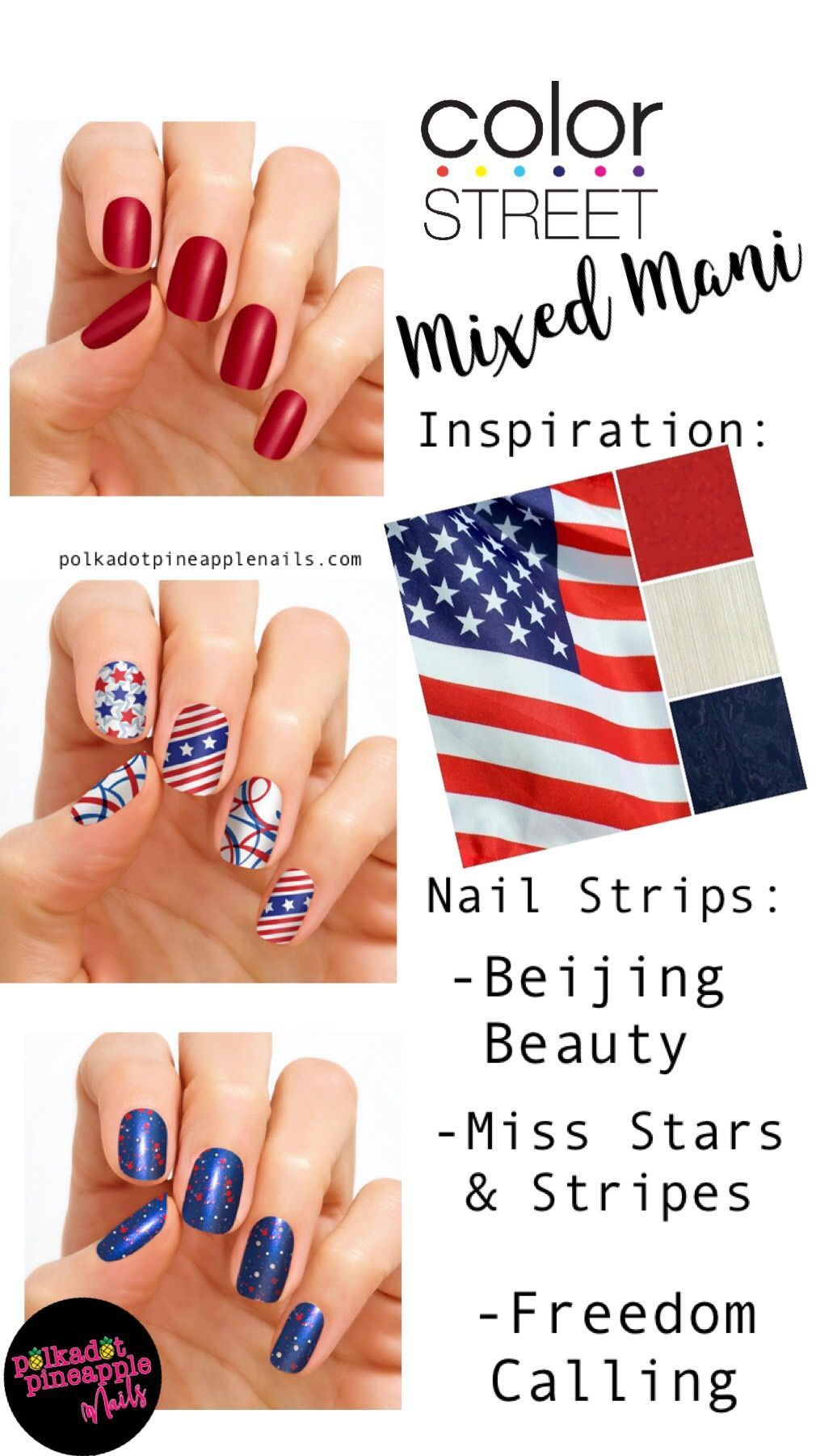Color Street Nails Patriotic Collection Is Full Of Glitter And Sparkle Mixed Manicures Are A Nail Trend That M Color Street Nails Pineapple Nails Color Street