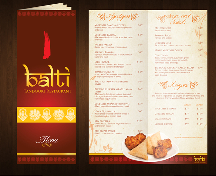 menu design for an indian restaurant in new jersey usa - Restaurant Menu Design Ideas