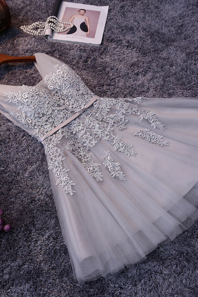 In stock elegant tulle v neck lace appliques party dress cheap short